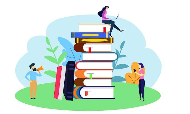Kleine mensen begonnen een groot boek op te stapelen. Premium Vector