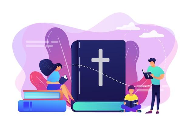 Kleine mensen, christenen die de bijbel lezen en over christus leren. heilige bijbel, heilig heilig boek, het woord van god concept. Gratis Vector
