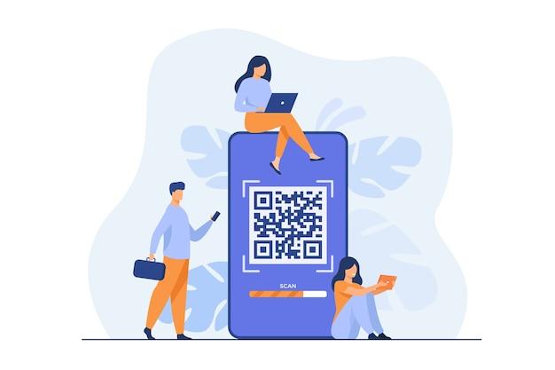 Kleine mensen die qr-code gebruiken voor online betaling geïsoleerde vlakke illustratie. Gratis Vector