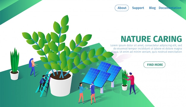 Kleine mensen die samenwerken zorg voor planten. Premium Vector