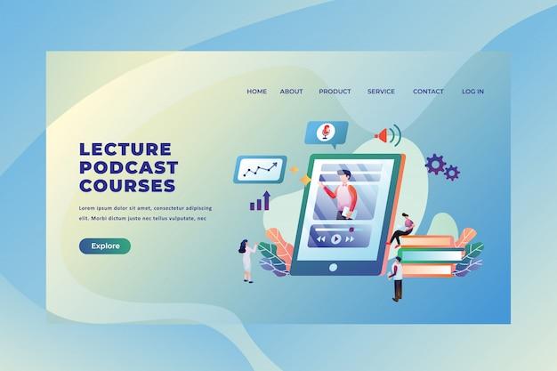 Kleine mensen die studeren via online lezingen podcast-cursussen, sjabloon voor webpagina-paginakoptekst Premium Vector