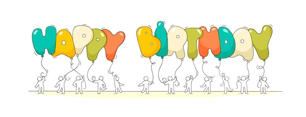 Kleine mensen met woorden happy birthday. Premium Vector