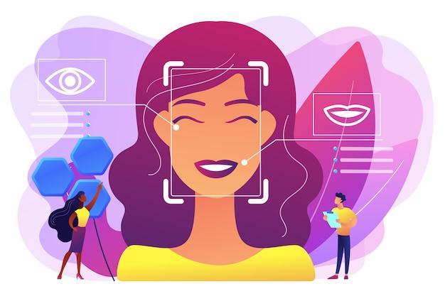 Kleine mensenwetenschappers identificeren de emoties van de vrouw aan de hand van stem en gezicht. emotiedetectie, herkenning van emotionele toestand, concept van emo-sensortechnologie. heldere levendige violet geïsoleerde illustratie Gratis Vector