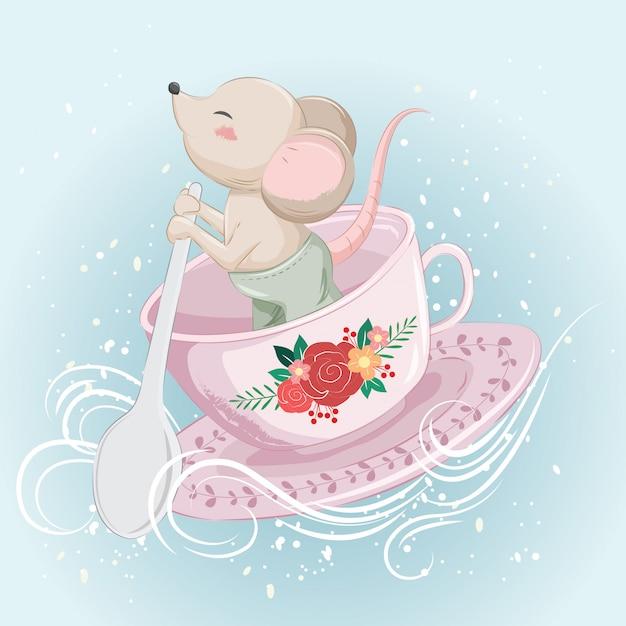 Kleine muis buigen op een theekop Premium Vector