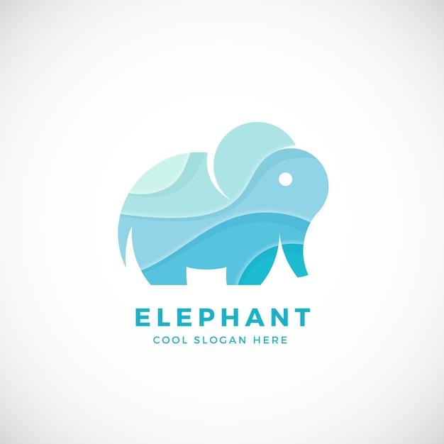 Kleine olifant logo sjabloon, teken of pictogram. creatieve stilering. Premium Vector