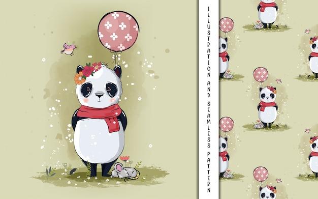 Kleine panda met ballonnen illustratie voor kinderen Premium Vector