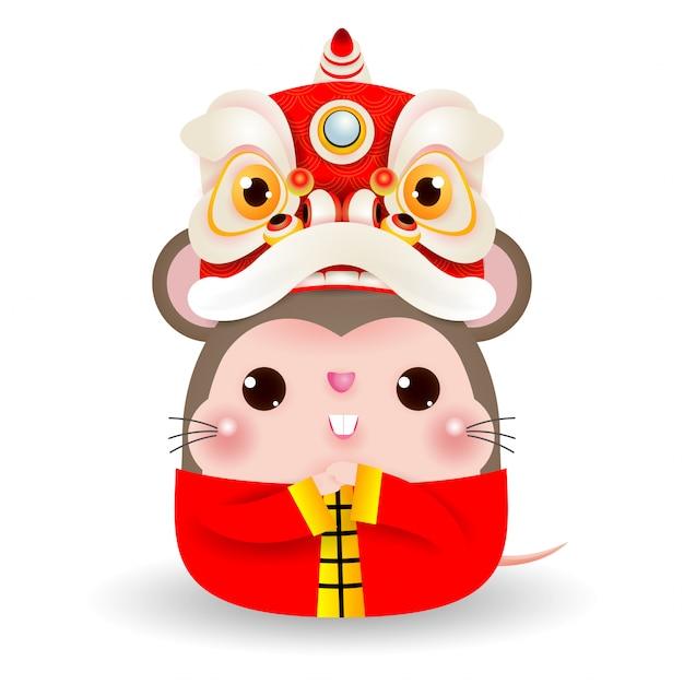 Kleine rat met lion dance head, gelukkig chinees nieuw jaar 2020 jaar van de dierenriem van de rat Premium Vector