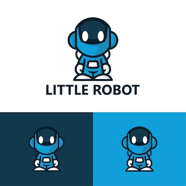 Kleine robot logo sjabloon Premium Vector