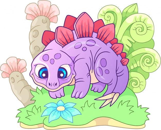Kleine schattige cartoon stegosaurus Premium Vector