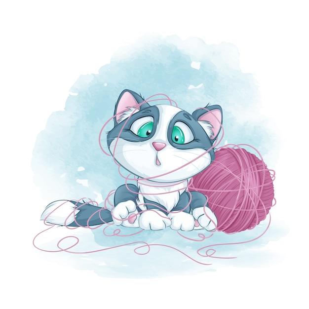 Kleine schattige kitten verstrikt in een bol garen. Premium Vector