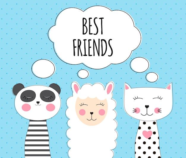 Kleine schattige lama, panda en kat voor kaart- en shirtontwerp. beste vriend concept. Premium Vector