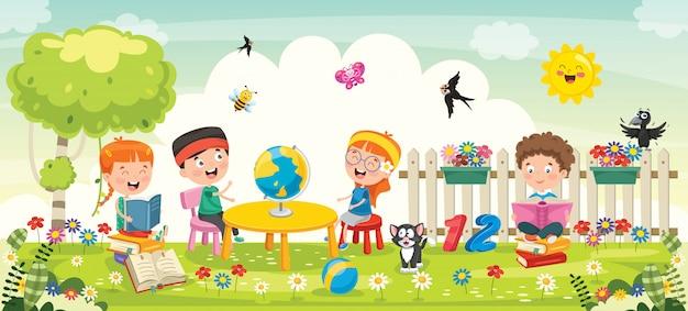 Kleine schoolkinderen die in park bestuderen Premium Vector