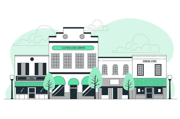 Kleine stad concept illustratie Gratis Vector