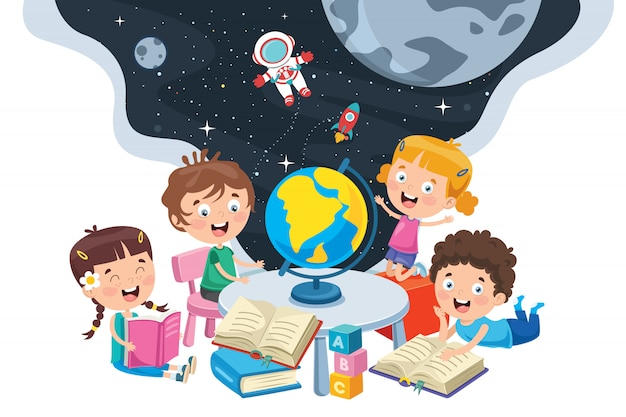 Kleine studenten die aardrijkskunde bestuderen Premium Vector