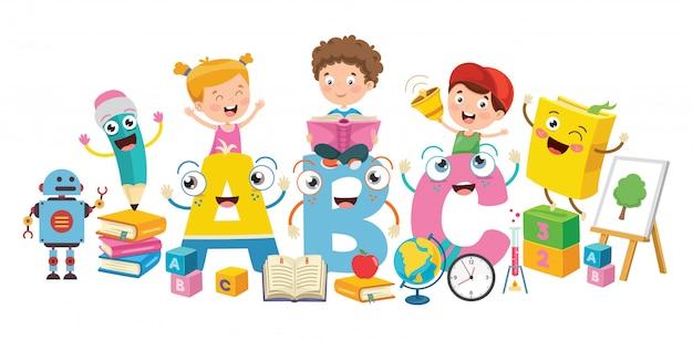 Kleine studenten die boeken bestuderen en lezen Premium Vector