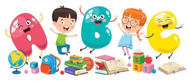 Kleine studenten studeren en lezen Premium Vector
