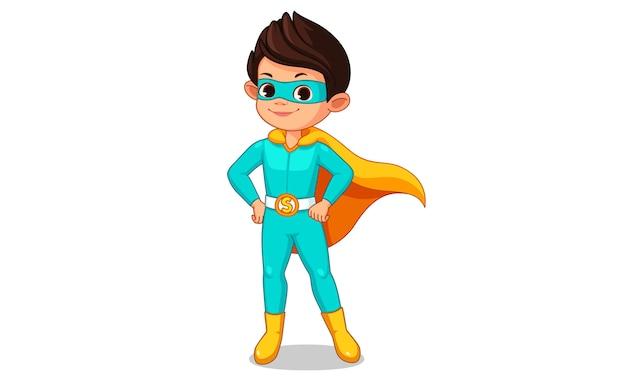 Kleine superheld jongen cartoon Premium Vector