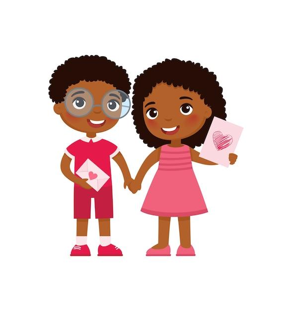 Kleine vriend en vriendin vieren valentijnsdag Gratis Vector