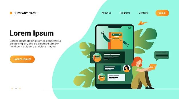 Kleine vrouw met behulp van mobiele assistent met chatbot geïsoleerd platte vectorillustratie. moderne klantenondersteuning online Gratis Vector