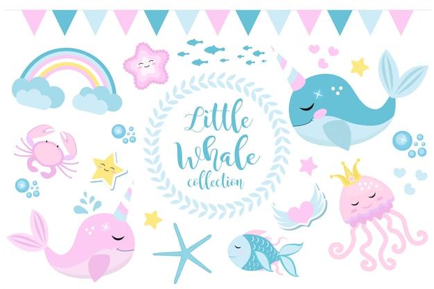 Kleine walvis eenhoorn set, moderne cartoon-stijl. leuk en een fantastische collectie voor kinderen met zeebewoners, vissen, onderwater, kwallen, krab, regenboog. illustratie Premium Vector