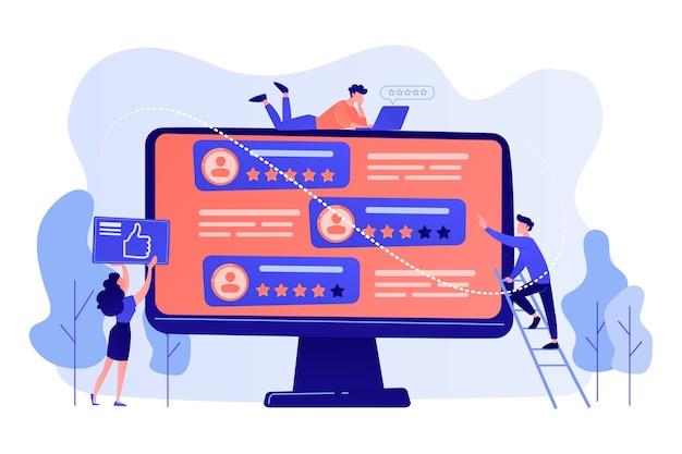 Kleine zakenmensen die een beoordelingssite gebruiken om op mensen op het computerscherm te stemmen. rating site, professionele rank site, content rating pagina concept illustratie Gratis Vector