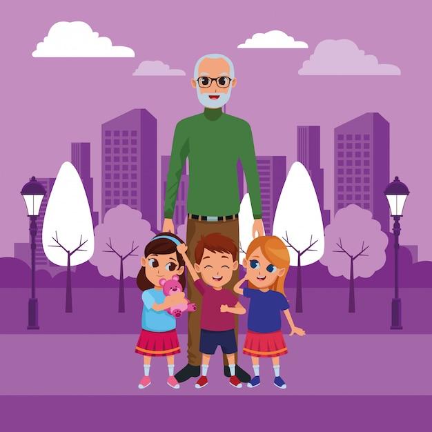 Kleinkinderen en grootvader van hand Gratis Vector