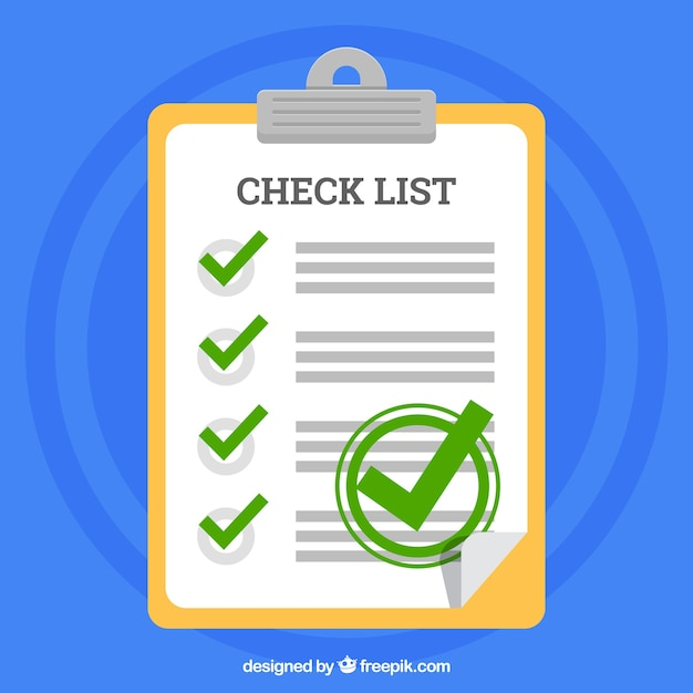 Klembord en checklist in plat design Gratis Vector