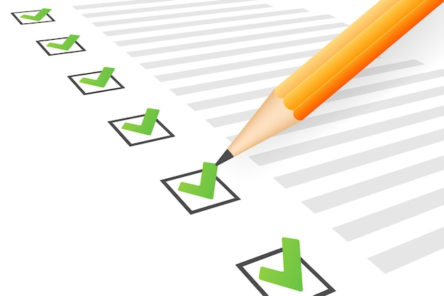 Klembord met checklist pictogram illustratie Premium Vector