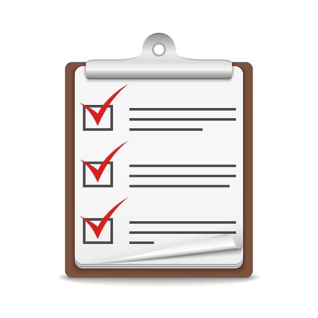 Klembord met controlelijst op witte achtergrond, vectoreps10-illustratie Premium Vector