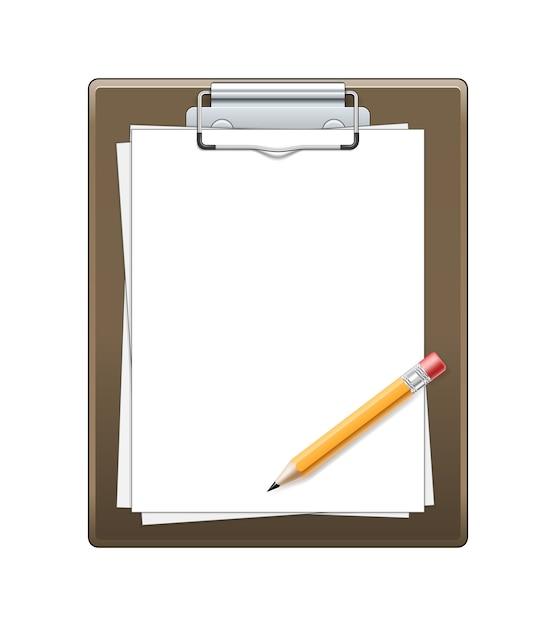 Klembord met geïsoleerd document en potlood Gratis Vector