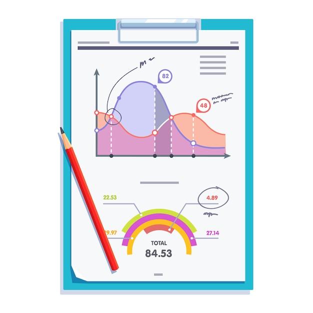 Klembord met statistieken rapport document paper Gratis Vector