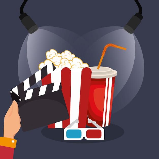 Klepel bioscoop productie pictogrammen Premium Vector