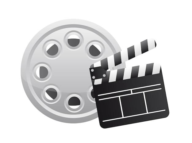Kleppenraad met filmstrook over witte vector als achtergrond Premium Vector