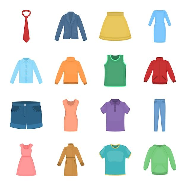 Kleren cartoon vector icon set. vector illustratie kleding. Premium Vector