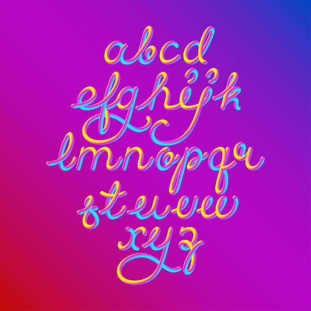 Kleur 3d alfabet lettertype Premium Vector
