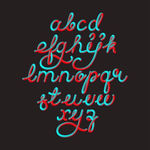 Kleur 3d alfabet vector pijp lettertype op zwarte ruimte Premium Vector