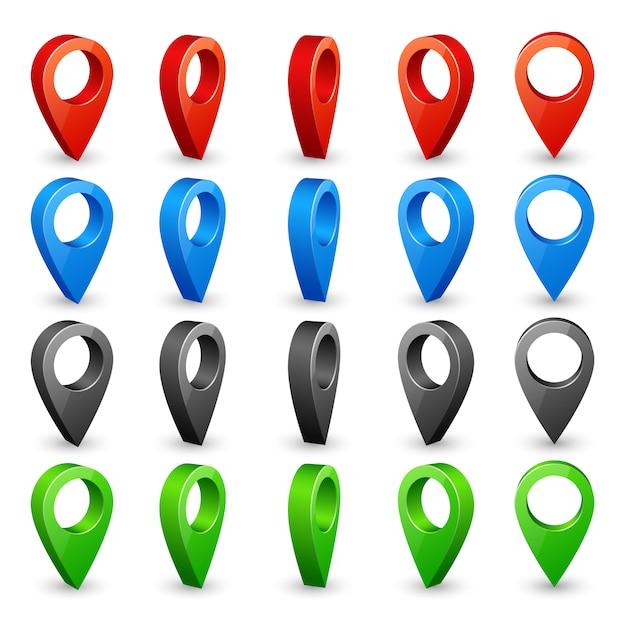 Kleur 3d kaartspelden. plaats locatie- en bestemmingspictogrammen. Premium Vector