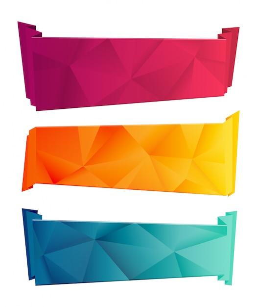Kleur driehoekig lint en banner set Premium Vector