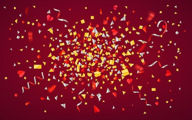 Kleur folie confetti en linten op rode achtergrond. Premium Vector