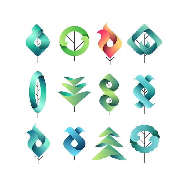 Kleur gadient geometrische bladeren, bomen, set van geïsoleerde symbolen, logo's, vector eco en botanische elementen. Premium Vector