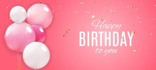 Kleur glanzend happy birthday ballonnen banner achtergrond Premium Vector