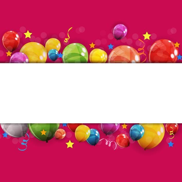 Kleur glanzende gelukkige verjaardag ballonnen achtergrond vectorillustratie Premium Vector
