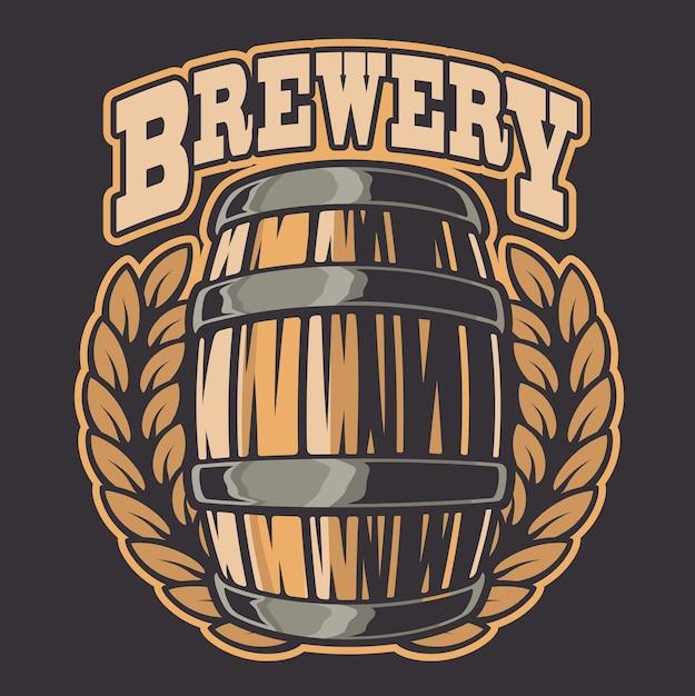 Kleur illustratie van een biervat. alle elementen van de illustratie en tekst zijn in aparte groepen. Premium Vector