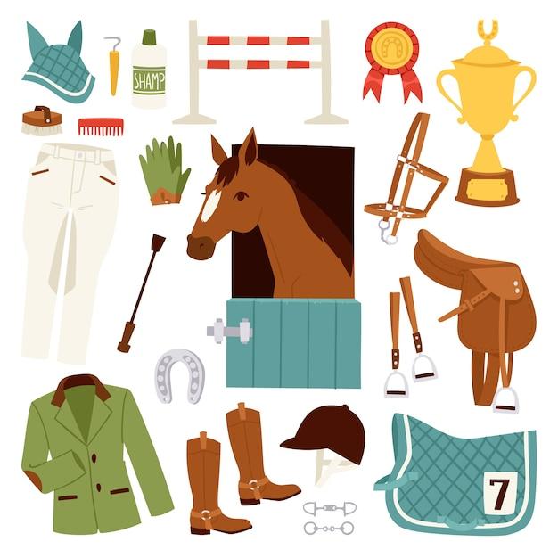 Kleur jockey pictogrammen instellen met apparatuur voor paardrijden en hoefijzerzadel sport race paardensport hengst barrière Premium Vector