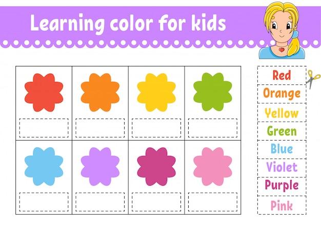 Kleur leren voor kinderen. onderwijs ontwikkelt werkblad. activiteitenpagina met kleurenfoto's. Premium Vector