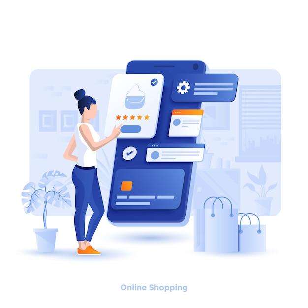 Kleur moderne illustratie - online winkelen Premium Vector
