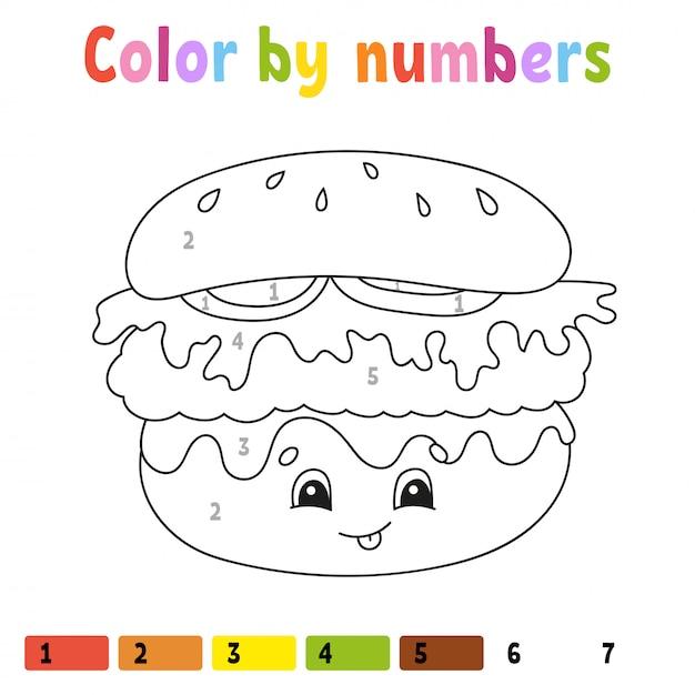 Kleur op nummer. kleurboek voor kinderen. illustratie. stripfiguur. Premium Vector