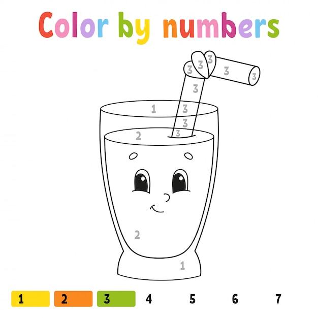 Kleur op nummer. kleurboek voor kinderen. Premium Vector