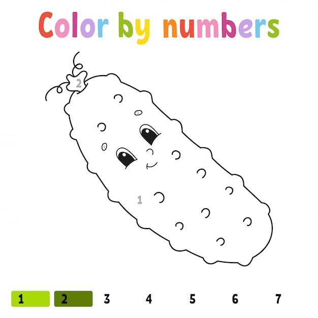Kleur op nummer komkommer. kleurboek voor kinderen. plantaardig karakter. vector illustratie Premium Vector
