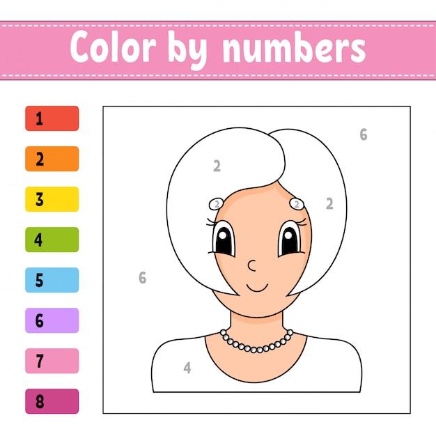 Kleur op nummer. mooi meisje. activiteit werkblad. Premium Vector